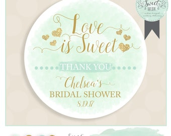 Bridal shower favor sticker PHRASE Love Is Sweet. INCLUDES color qty and size of choice. Glossy sticker label watercolor and glitter