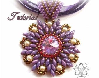 PDF Tutorial Star Flower Rivoli Pendant with Superduo Beads Tutorial Beading Pattern. English Only,