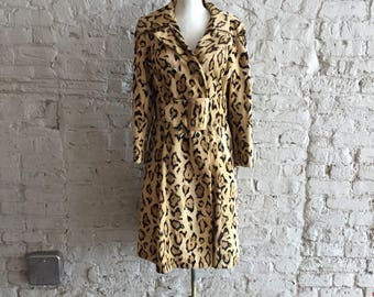 Young Generation 1970s animal leopard cheetah print faux fur coat with wide belt