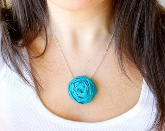 Fabric Flower necklace, Rosette necklace, Single Bloom fabric flower necklace, Pick Your Color