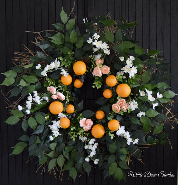 Summer Orange and Blackberry Garden Wreath for Front Door or Kitchen
