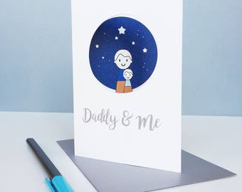 Daddy and me card - Father's day card - daddy card - dad card
