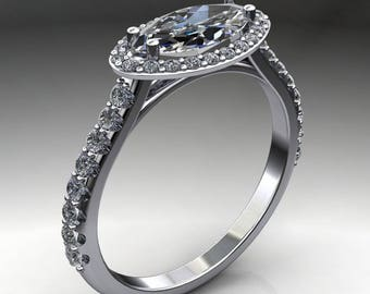 francesca ring - 1 carat marquise cut NEO moissanite engagement ring, marquise cut ring