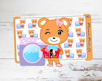 Bebe the Bear // Planner Stickers // Laundry // Clean // Housework  // 002