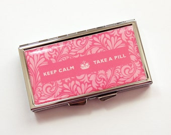 Pill box, 7 day, 7 section, Pill Case, Pink, Damask, Keep Calm Take A Pill, Pink pill case, Pink Damask, Kellys Magnets (3894)