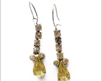 Yellow and White Rhinestone Dangle Earrings