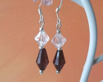 black and clear crystal like beaded small dangle earring