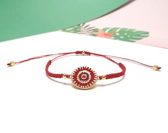 Adjustable red macramé and connector in gold-plated zamak 24 K Gold enamel bracelet