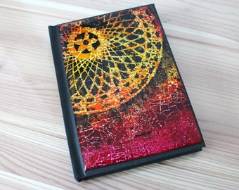 Note or book sketch cover Fimo polymer clay depicting a colorful mandala