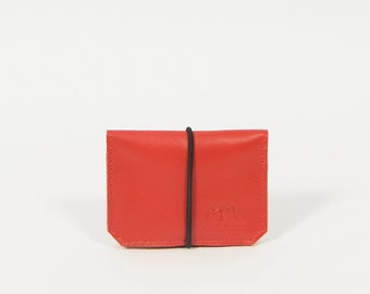 Isaac - red/black leather wallet