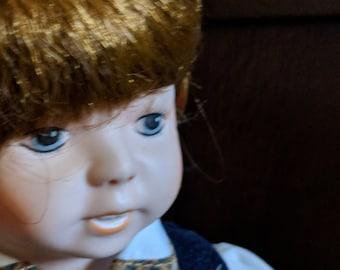 Handsome Boy Vintage Porcelain Doll