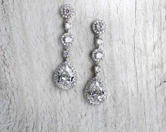 Wedding Earrings, Pear shape Dangle Earrings, CZ Bridal Earrings, Vintage Style Earrings, 1920s Downton Abbey, Gatsby Earrings - 'ELISA'