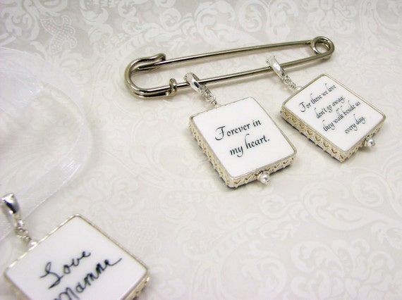 Sterling Framed Bouquet Charm and Boutonniere Pin - FBPP2PSx3