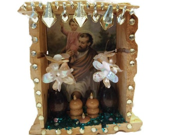 St Joseph Shrine, Mexican Wood Nicho, Catholic Kitsch, Mexican Altar Decoration, Mexican Folk Art, Mexican Kitsch, Day of the Dead