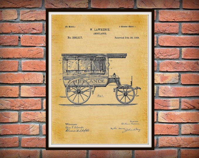 Featured listing image: 1889 Ambulance Patent Print - Doctors Office - Hospital Decor - EMT Patent - Medical Poster - EMS Wall Art - Paramedic Gift Idea