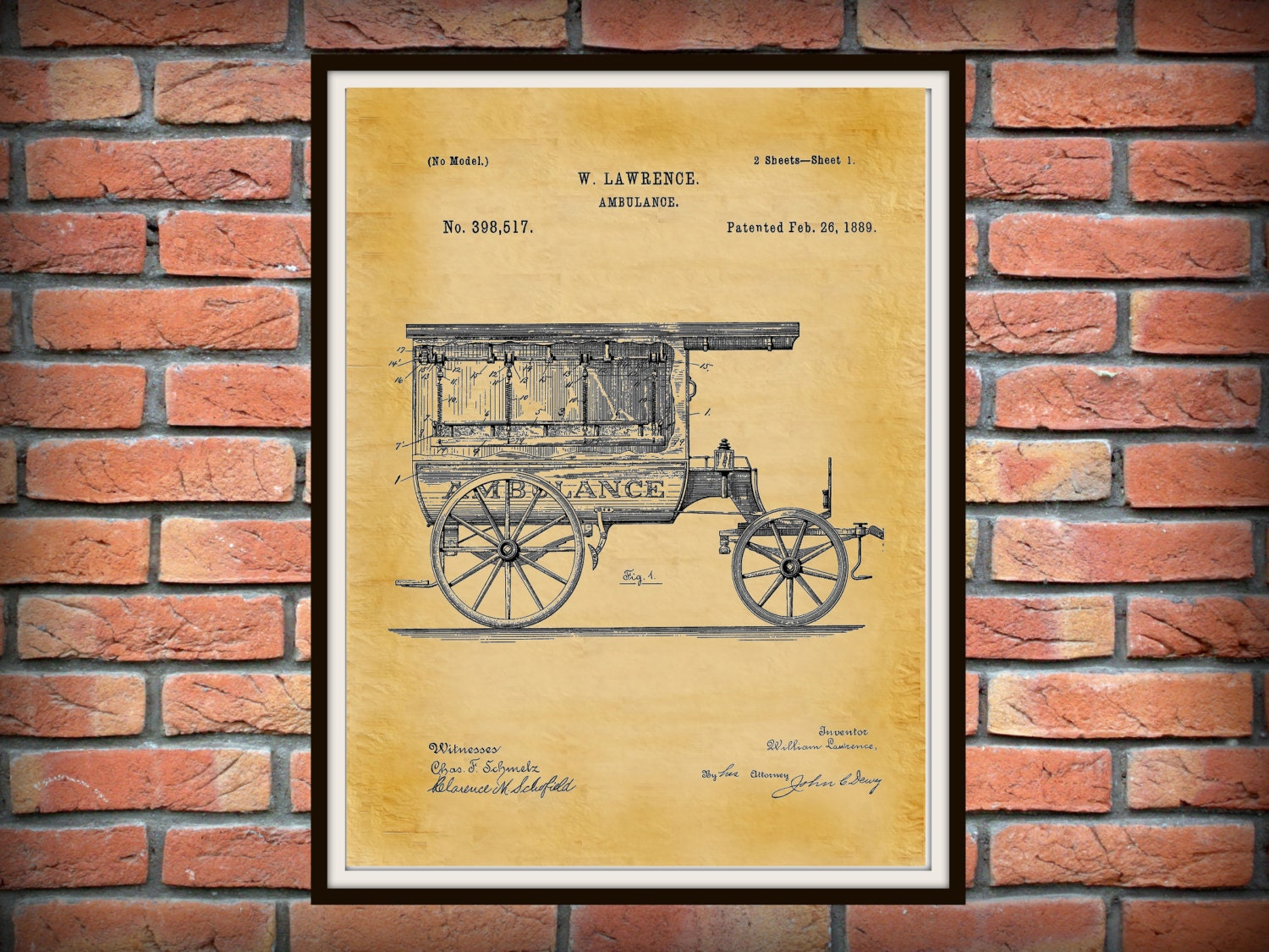 1889 Ambulance Patent Print - Doctors Office - Hospital Decor - EMT ...