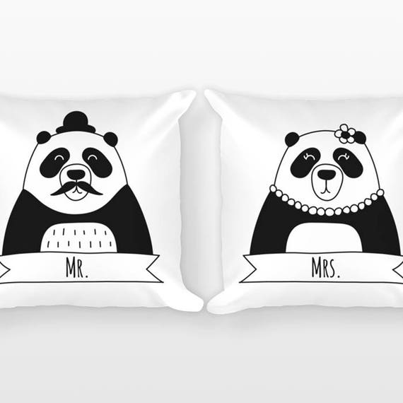 Mr and Mrs Pillows, Panda Couple Pillows, Engagement Gift, Anniversary Gift, Unique Wedding Gift, Cute Couple Gift Set of 2 Throw Pillows