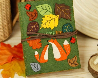 DIY Kit Autumn Leaves Notebook / Agenda / Journal (Text could be personalized)
