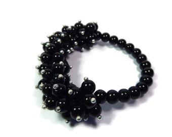 Night Anemone - Black/Silver Bracelet - Hand Looped/Beaded Cluster Stretch - Jet Glass - Mishimon Designs