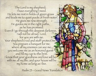 Scripture photographic stained glass wall decor, Psalm 23 Good News Translation home decor art LemonDropImages