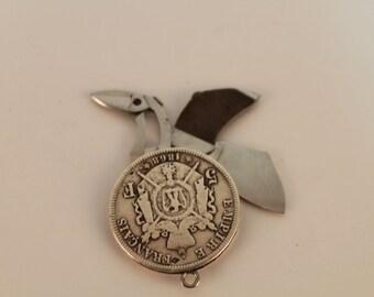 Vintage silver key-ring coin 5franks