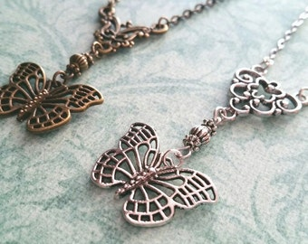 Butterfly Necklace / Bronze Necklace / Bead Necklace / Nature Necklace / Silver Necklace