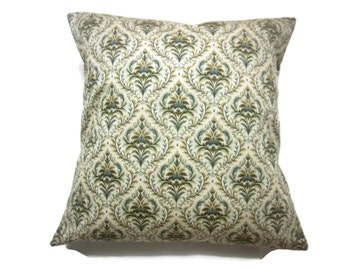 Decorative Pillow Cover Damask Design Green Brown Ivory Same Fabric Front/Back Toss Throw Accent 18x18 inch x