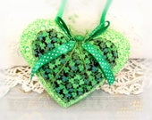 St. Patrick's Day Irish Heart Ornament 5-inch Ornament Door Hanger, Green Shamrock Folk Art, Handmade CharlotteStyle Decorative Folk Art
