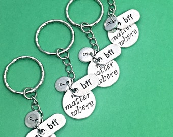 Sale,Set of 4 bff keychains, bff charm, bff keychain, set of 4 best friend,no matter where bff,personalized,customized,initial keychain, bff