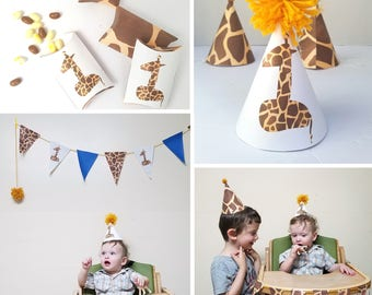 Giraffe Birthday Party Theme Pack - Printable First Birthday Party Theme - Safari Animal Party Favor Boxes, Hats, Invitations, and more!