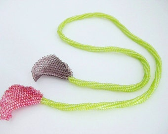 Beaded Necklace / Calla Lily Choker /  Peyote Necklace / Herringbone Necklace / Seed Bead Necklace / One of a Kind Necklace / Beadwoven