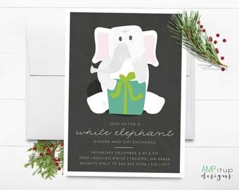White Elephant Party Printable Invitation - Funny Party Invite - Printable White Elephant Invite - Instant Download - Elephant Gift Exchange