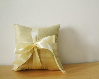 Gold Beige Dupioni Silk Ring Bearer Pillow with Satin Ribbon