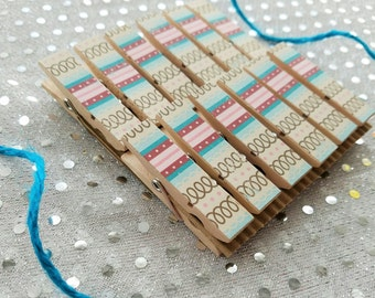 Spiral Notebook and Turquoise Pink Stripes - Chunky Mini Clothespin Clips w Twine for Display -  Set of 12 - Country Chic - Ready to Ship