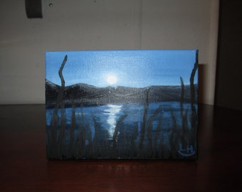 Moonlight Silhouette/ small oil Painting