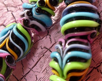 Handmade Lampwork -:- Neon Nights - Set of 14 - Made in the USA - Artisan