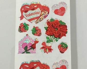 Vintage Sandylion Valentines Flowers Strawberry Heart Stickers
