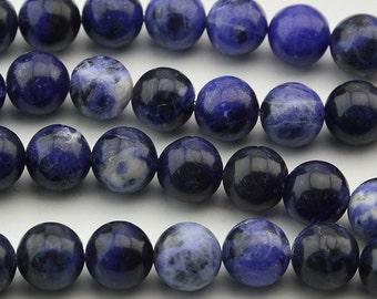 """15"""" Natural Sodalite Beads Gemstone Round Beads 8mm 10mm"""