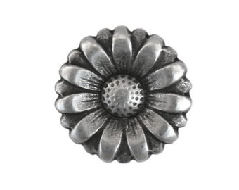 6 Morning Flower 9/16 inch ( 15 mm ) Metal Buttons Antique Silver Color