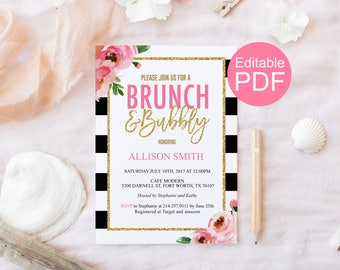 Brunch and Bubbly Invitation Template, Kate Bridal Shower Invite, DIY Bridal Brunch Invitation, Black and White, Floral, Editable PDF