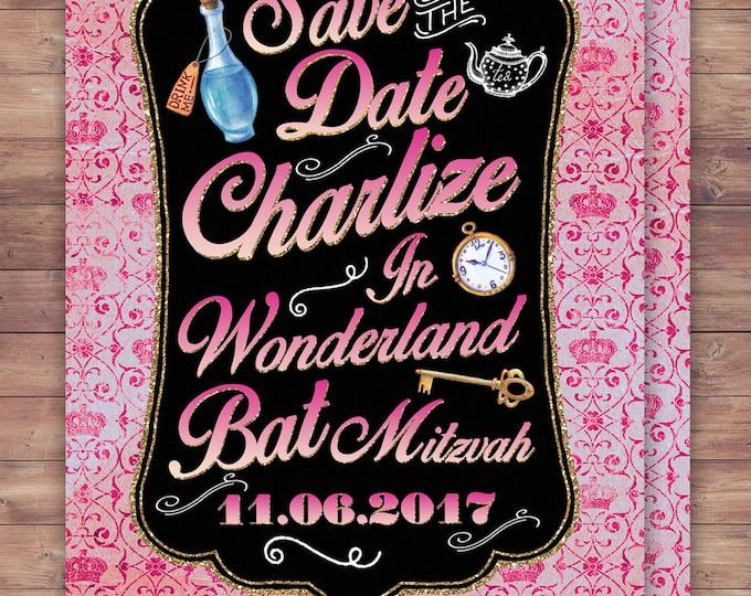 Save the date, Bat Mitzvah, Bridal shower, Birthday, wedding, Mad Hatter Tea Party, Alice in Wonderland Invitation / Birthday, baby shower