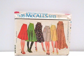 Flared or Bias Skirt Sewing Pattern Vintage McCalls 5113 Size 10 Waist 25 Gored skirt A-Line Skirt Patch Pocket Midi Maxi Muff Pocket 1970s