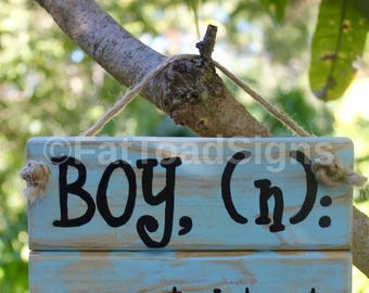 Boy Definition Reclaimed Timber Sign, Baby Nursery, Baby Shower, Gift Ideas, Handmade, Rustic Wood Sign