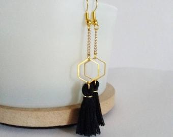 Hexagon Stud Earrings gold and black tassel fringe