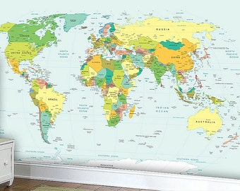 World Map Wall mural, Wallpaper, Wall décor, Wall decal, Nursery and room décor, Wall art