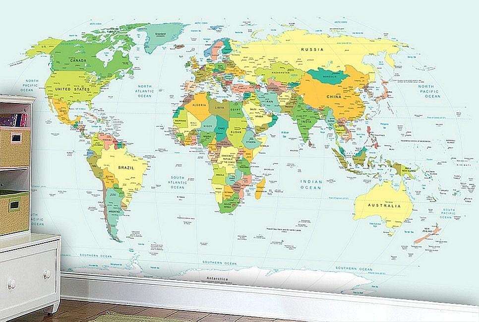 World map wall mural wallpaper wall dcor wall decal zoom gumiabroncs Choice Image