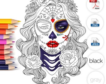 Adult Coloring Page Halloween Day of the dead Line Art