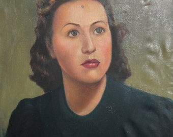 Antique oil painting woman portrait