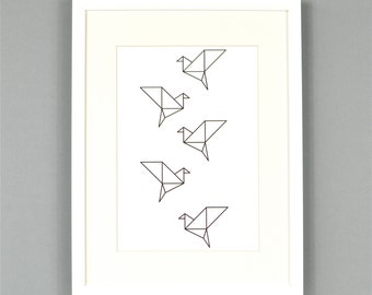 Origami Birds Monochrome Art Print