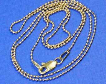 14K SOLID YELLOW GOLD Beaded Ball Chain Necklace 18 inch Length